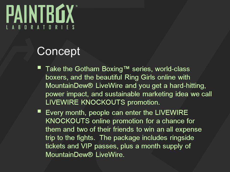 Concept Take the Gotham Boxing series, world-class boxers, and the beautiful Ring Girls online with MountainDew® LiveWire and you get a hard-hitting, power impact, and sustainable marketing idea we call LIVEWIRE KNOCKOUTS promotion.