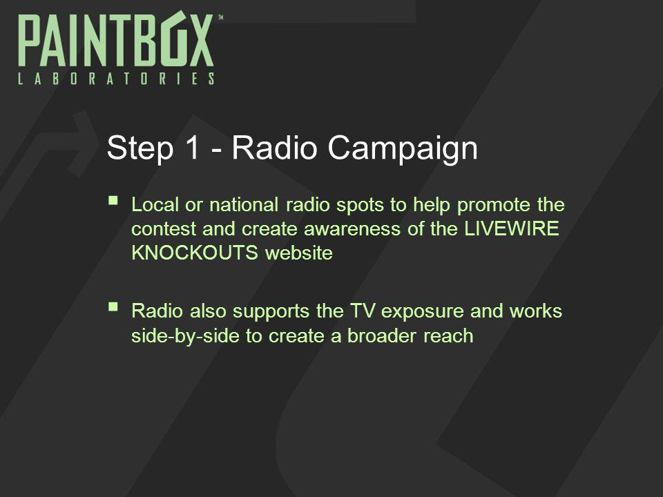 Step 1 - Radio Campaign Local or national radio spots to help promote the contest and create awareness of the LIVEWIRE KNOCKOUTS website Radio also supports the TV exposure and works side-by-side to create a broader reach
