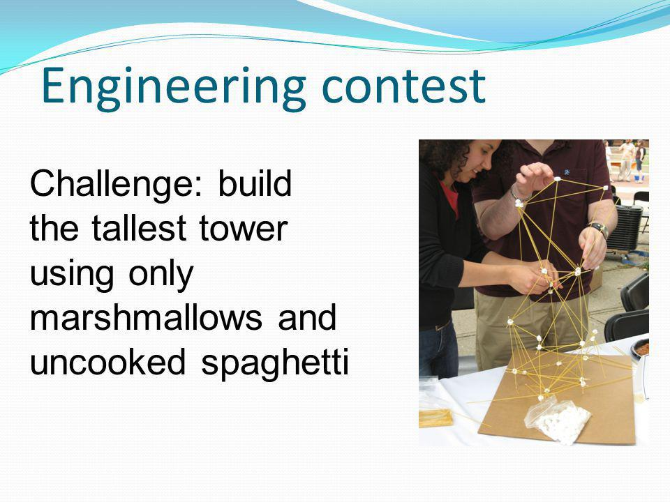 Engineering contest Challenge: build the tallest tower using only marshmallows and uncooked spaghetti