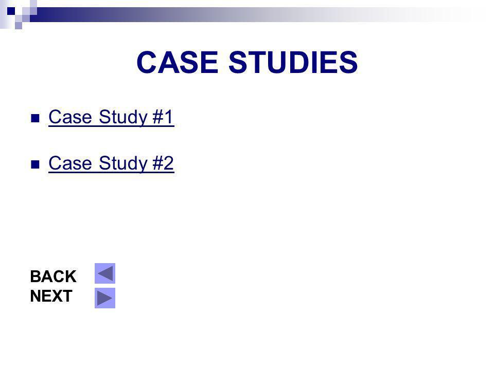 CASE STUDIES Case Study #1 Case Study #2 BACK NEXT