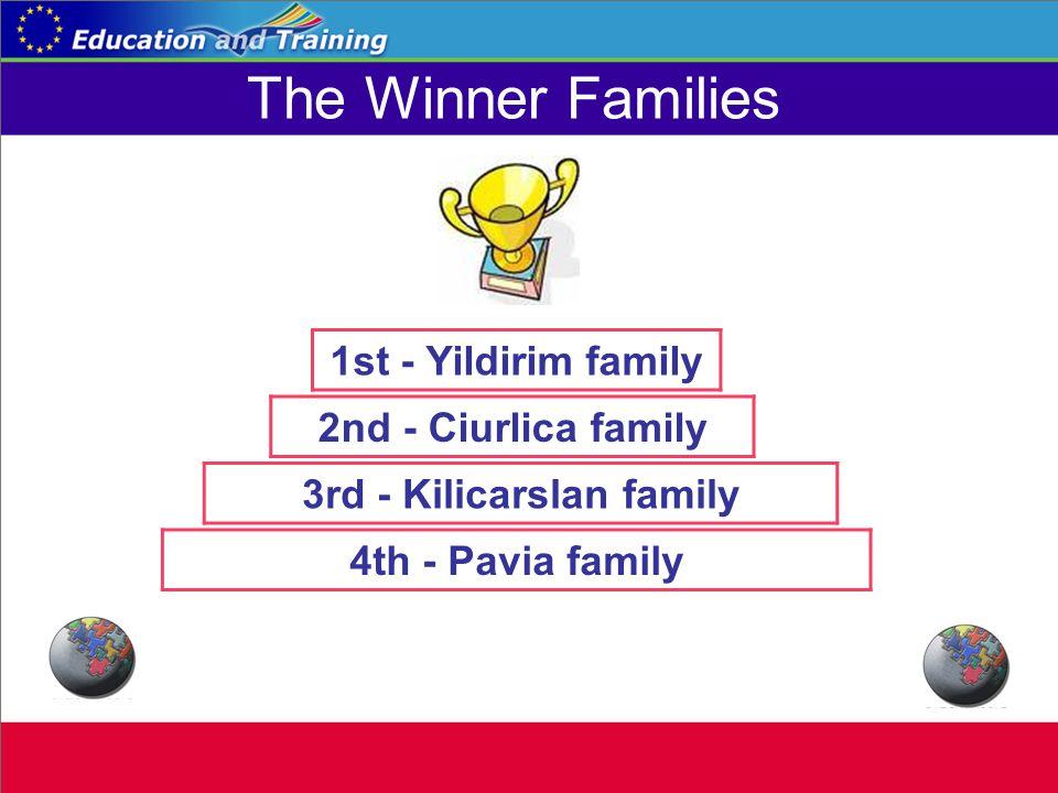 The Winner Families 1st - Yildirim family 2nd - Ciurlica family 3rd - Kilicarslan family 4th - Pavia family