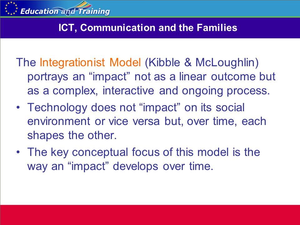 ICT, Communication and the Families The Integrationist Model (Kibble & McLoughlin) portrays an impact not as a linear outcome but as a complex, interactive and ongoing process.