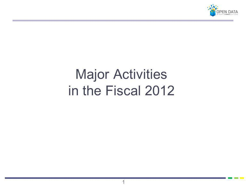 Major Activities in the Fiscal 2012 1