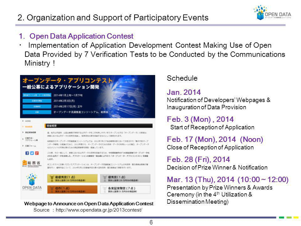 2. Organization and Support of Participatory Events 6 1. Open Data Application Contest Implementation of Application Development Contest Making Use of