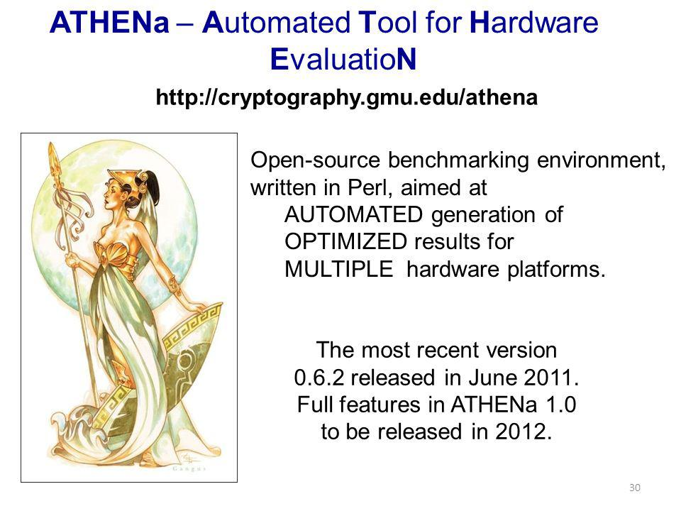 ATHENa – Automated Tool for Hardware EvaluatioN 30 Open-source benchmarking environment, written in Perl, aimed at AUTOMATED generation of OPTIMIZED results for MULTIPLE hardware platforms.