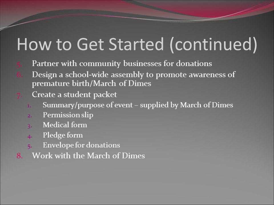 Four months prior to event 1.Create interest 2.Develop theme and committees 3.Suggest activities 4.Set monetary goals 5.Solicit donations 1.Mail initial letter 2.Call for response 3.Place reminder call week of event 4.Provide donation form for tax purposes 5.Create chart: business/location/phone/donation/delivery or pickup time Timeline