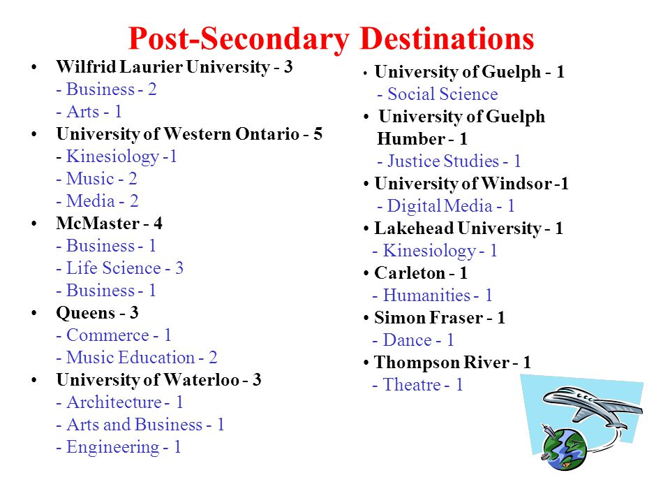 Post-Secondary Destinations Wilfrid Laurier University - 3 - Business - 2 - Arts - 1 University of Western Ontario - 5 - Kinesiology -1 - Music - 2 - Media - 2 McMaster - 4 - Business - 1 - Life Science - 3 - Business - 1 Queens - 3 - Commerce - 1 - Music Education - 2 University of Waterloo - 3 - Architecture - 1 - Arts and Business - 1 - Engineering - 1 University of Guelph - 1 - Social Science University of Guelph Humber - 1 - Justice Studies - 1 University of Windsor -1 - Digital Media - 1 Lakehead University - 1 - Kinesiology - 1 Carleton - 1 - Humanities - 1 Simon Fraser - 1 - Dance - 1 Thompson River - 1 - Theatre - 1