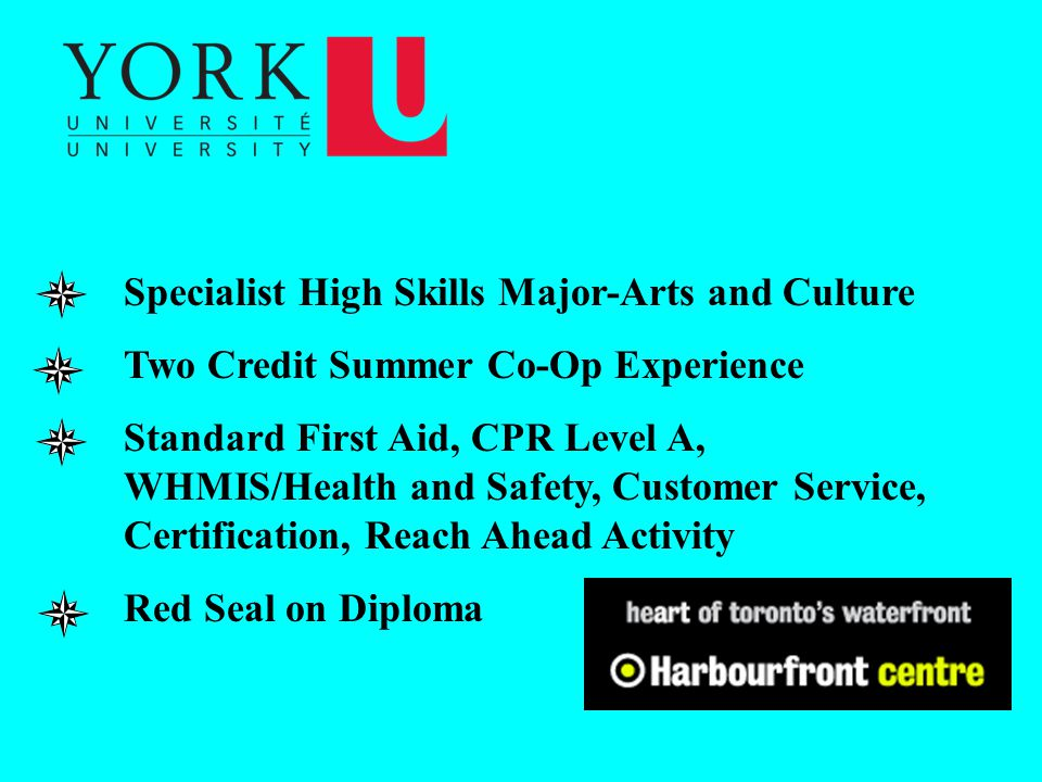 Specialist High Skills Major-Arts and Culture Two Credit Summer Co-Op Experience Standard First Aid, CPR Level A, WHMIS/Health and Safety, Customer Service, Certification, Reach Ahead Activity Red Seal on Diploma