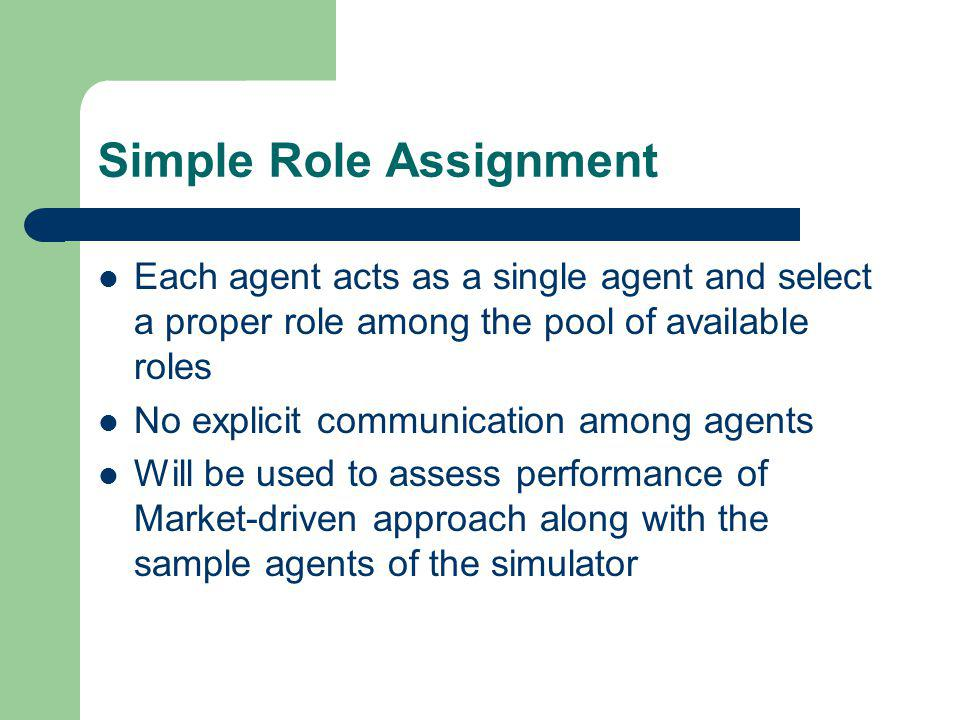 Simple Role Assignment Each agent acts as a single agent and select a proper role among the pool of available roles No explicit communication among agents Will be used to assess performance of Market-driven approach along with the sample agents of the simulator