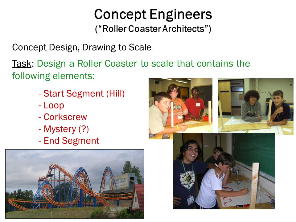Concept Engineers (Roller Coaster Architects) Task: Design a Roller Coaster to scale that contains the following elements: - Start Segment (Hill) - Lo