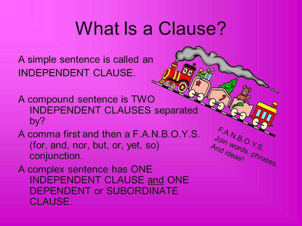 What Is a Clause.A simple sentence is called an INDEPENDENT CLAUSE.