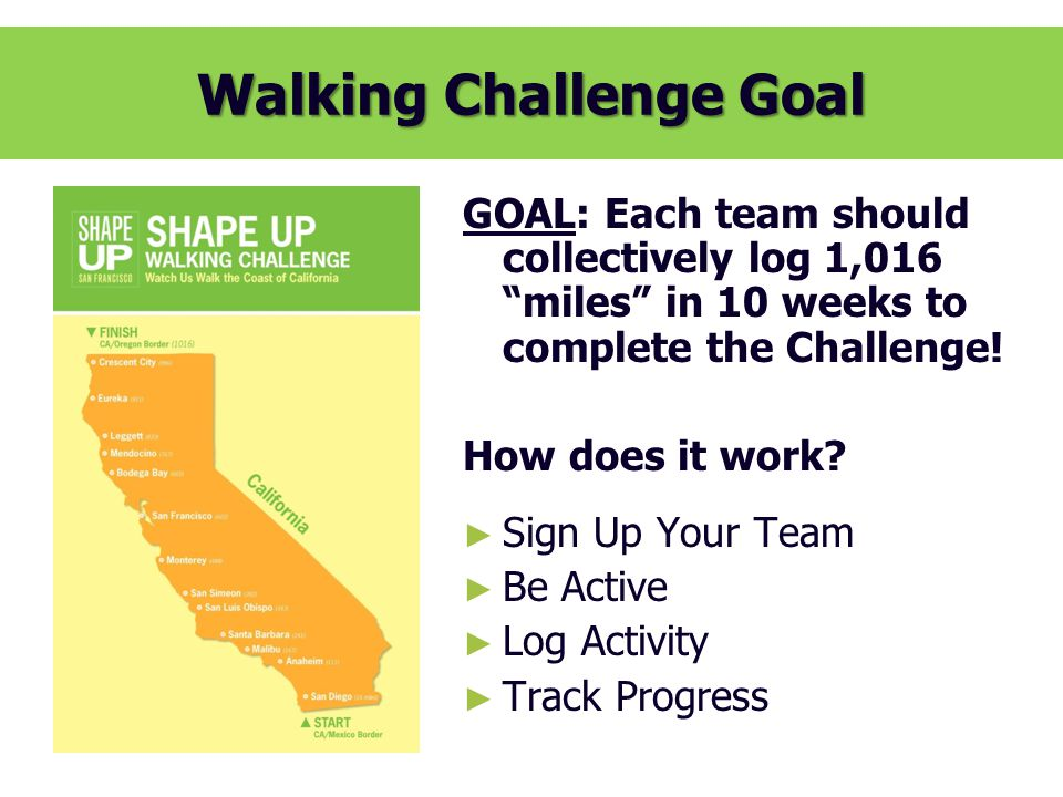 Walking Challenge History SHAPE UP SF Walking Challenge – A HISTORY YearDates Total # Participants Total # Teams Miles Collectively Walked Equivalent Times Around the Earth 2007Oct 2-Dec 51882121167,6916.7 2009Mar 9-May 152672177232,4789.3 2010Mar 1 –May 72659246250,69010 2011Feb 28 – May 62997167347,73714 2012Apr 2-Jun 82594147340,00413.6 2013Apr 1 –Jun 72180141418,37916.7