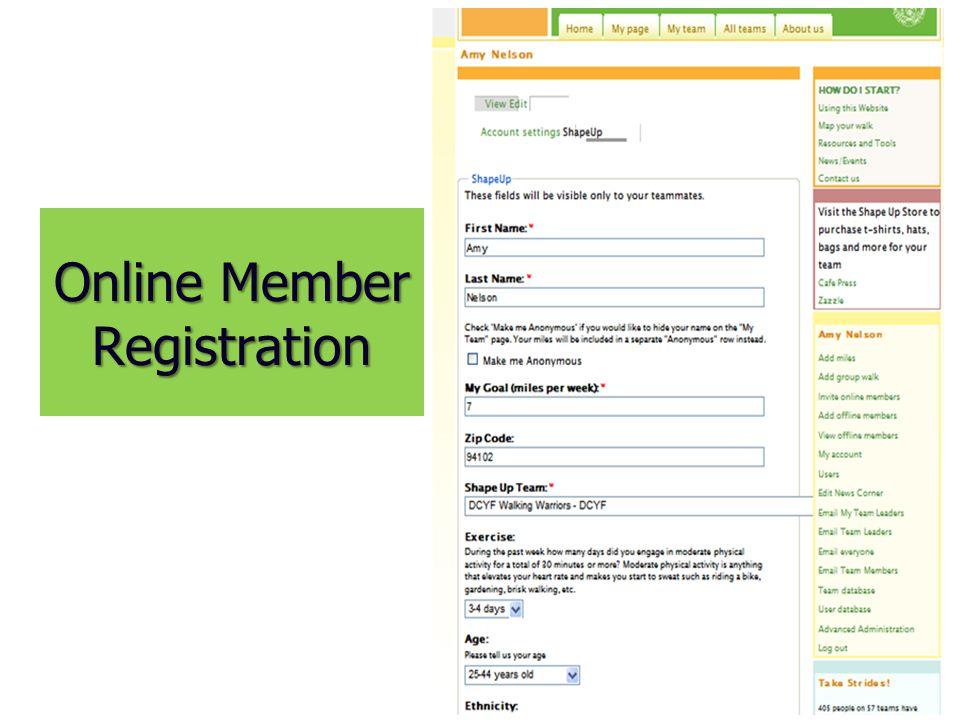 Online Member Registration