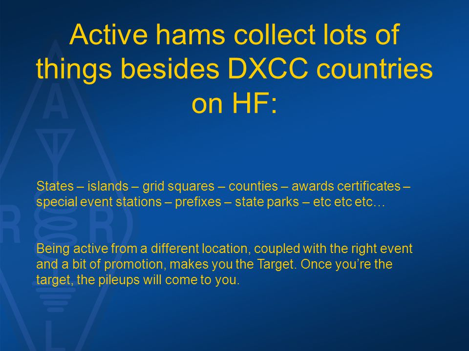 Active hams collect lots of things besides DXCC countries on HF: States – islands – grid squares – counties – awards certificates – special event stat