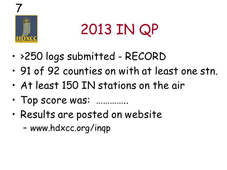 18 Worked All Indiana Info at www.hdxcc.org/wai QSL 60 of the 92 counties –Cards or INQP log confirmation