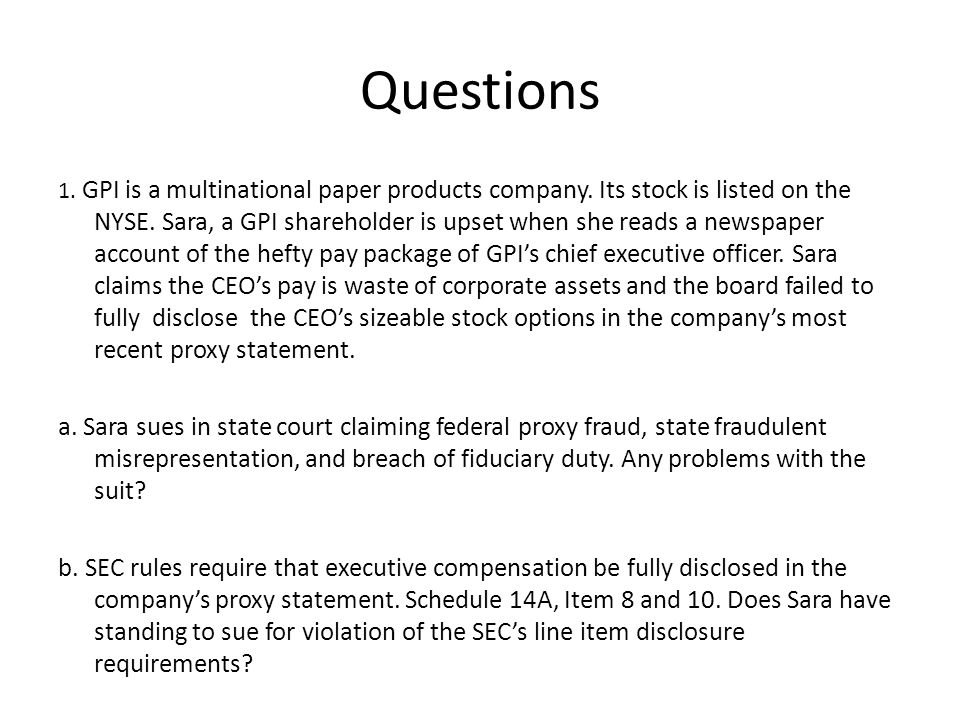 Questions 1. GPI is a multinational paper products company.