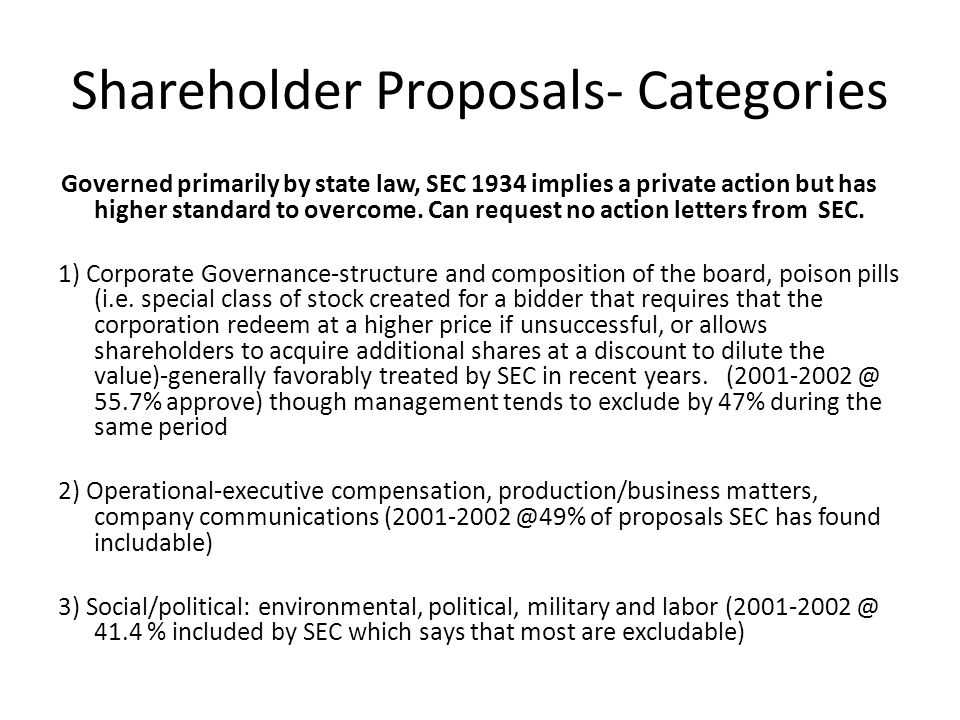Shareholder Proposals- Categories Governed primarily by state law, SEC 1934 implies a private action but has higher standard to overcome. Can request