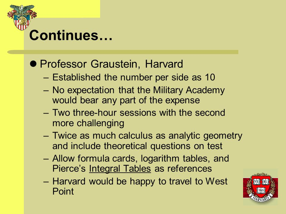 Continues… Professor Graustein, Harvard –Established the number per side as 10 –No expectation that the Military Academy would bear any part of the ex