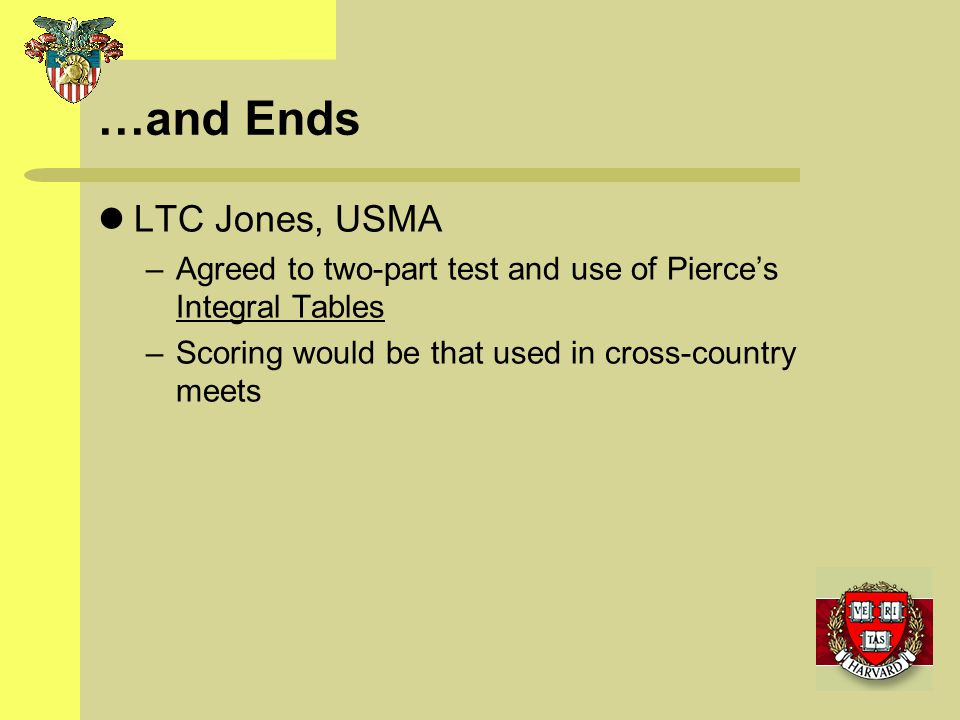 …and Ends LTC Jones, USMA –Agreed to two-part test and use of Pierces Integral Tables –Scoring would be that used in cross-country meets