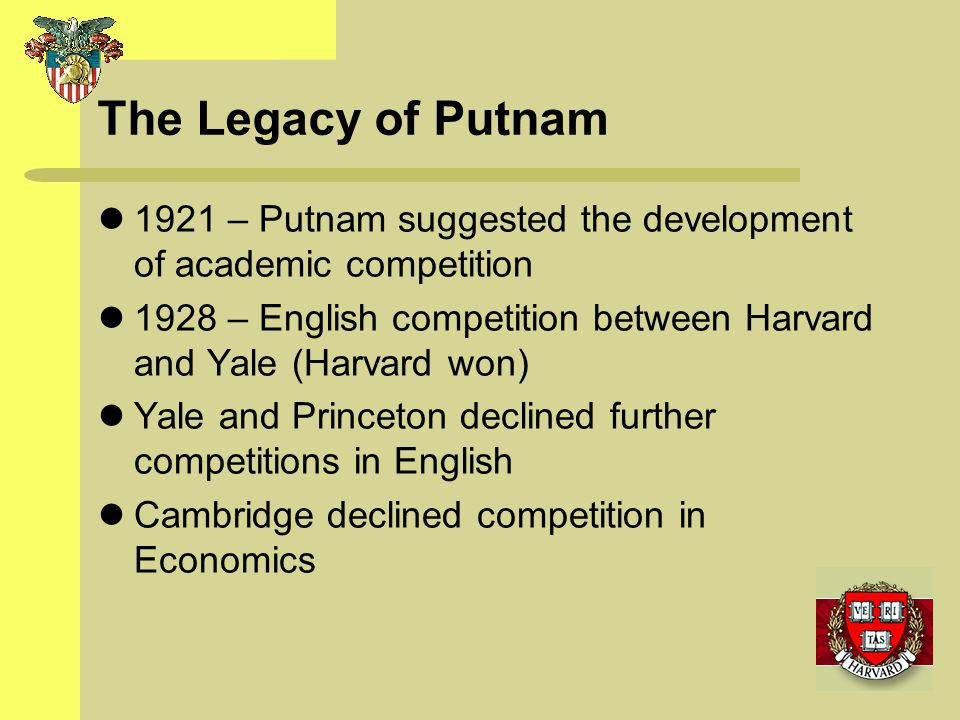 The Legacy of Putnam 1921 – Putnam suggested the development of academic competition 1928 – English competition between Harvard and Yale (Harvard won)