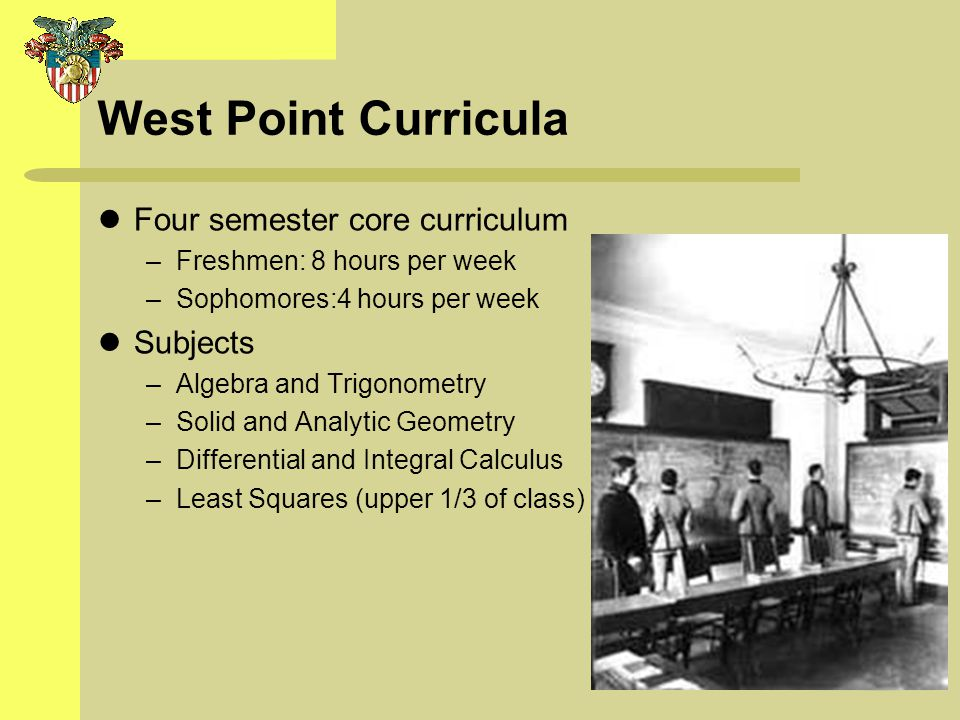 West Point Curricula Four semester core curriculum –Freshmen: 8 hours per week –Sophomores:4 hours per week Subjects –Algebra and Trigonometry –Solid