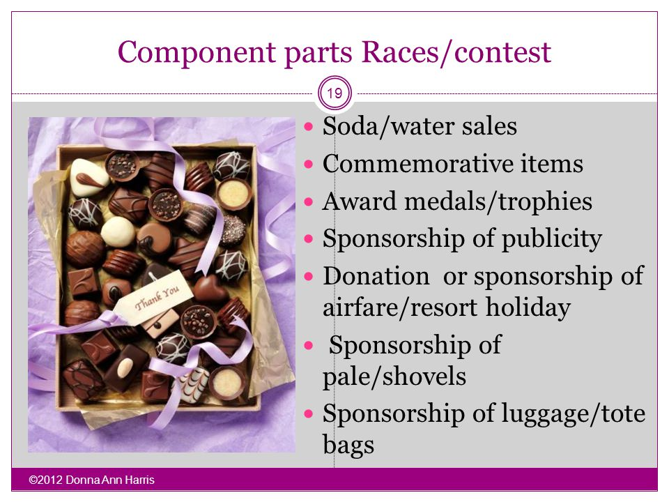 Component parts Races/contest Soda/water sales Commemorative items Award medals/trophies Sponsorship of publicity Donation or sponsorship of airfare/r