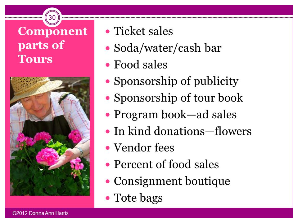 Component parts of Tours Ticket sales Soda/water/cash bar Food sales Sponsorship of publicity Sponsorship of tour book Program bookad sales In kind do