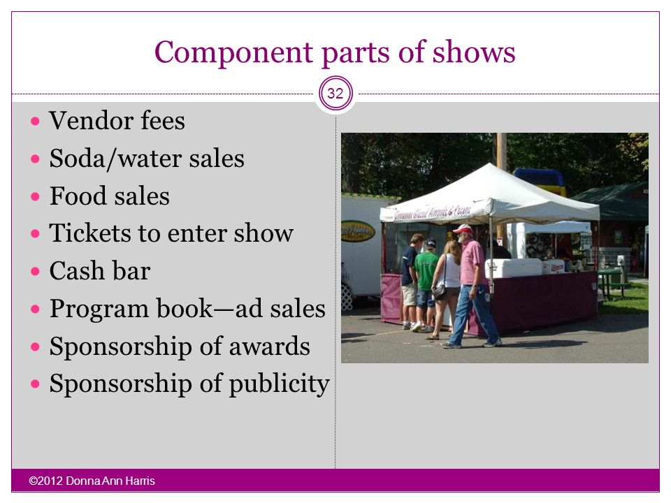 Component parts of shows Vendor fees Soda/water sales Food sales Tickets to enter show Cash bar Program bookad sales Sponsorship of awards Sponsorship