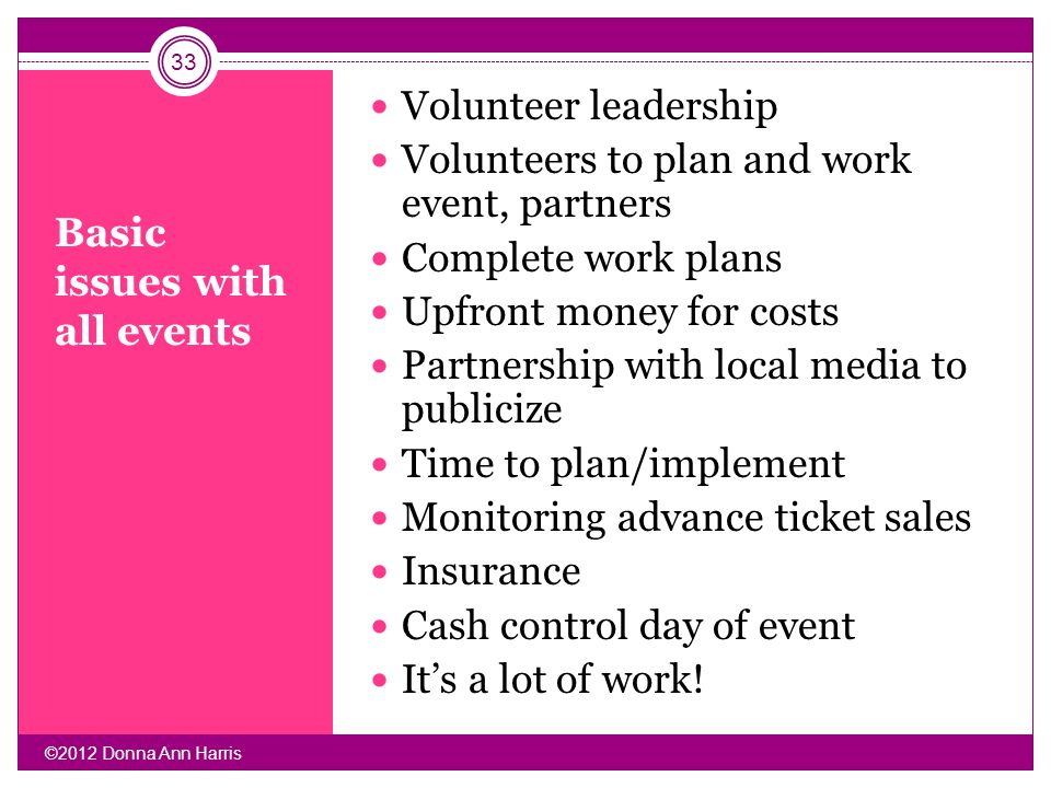 Basic issues with all events Volunteer leadership Volunteers to plan and work event, partners Complete work plans Upfront money for costs Partnership