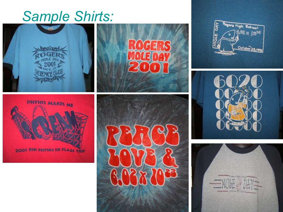 Sample Shirts: Back