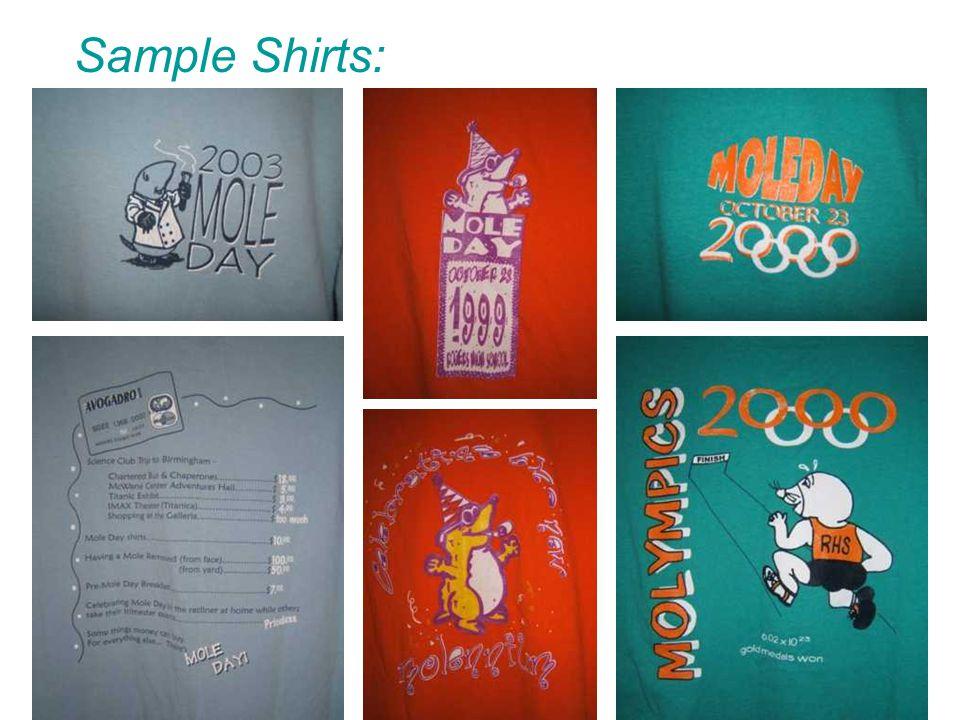 Sample Shirts: Front Back Front Back