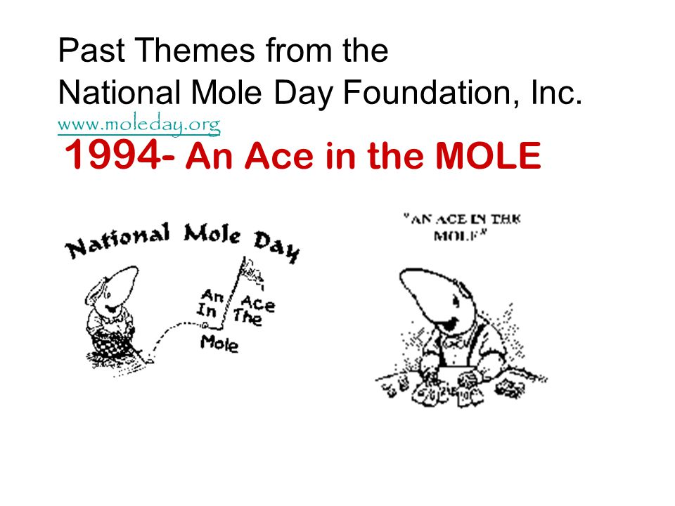 Examples of Signs to Post: Definition of MOLE: Avogadros Number 6.02 x 10 23 particles A counting unit used in chemistry There are 12 eggs in a dozen eggs.