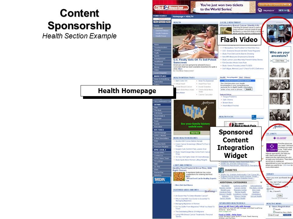 Content Sponsorship Health Section Example Health Homepage Flash Video Sponsored Content Integration Widget