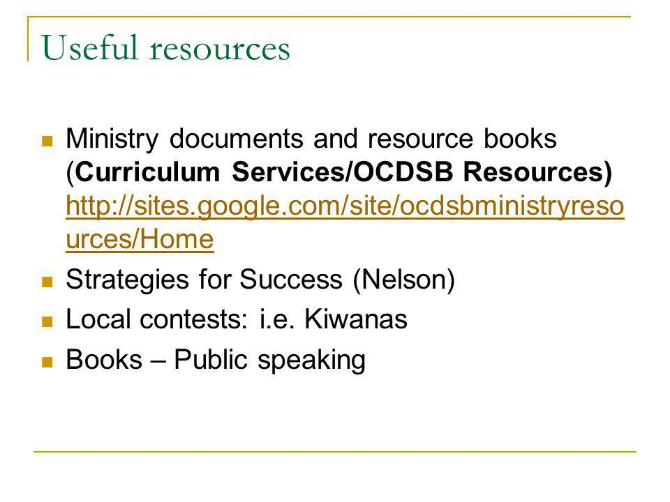 Useful resources Ministry documents and resource books (Curriculum Services/OCDSB Resources) http://sites.google.com/site/ocdsbministryreso urces/Home http://sites.google.com/site/ocdsbministryreso urces/Home Strategies for Success (Nelson) Local contests: i.e.