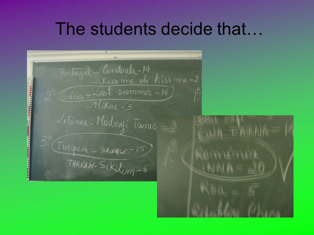 The students decide that…