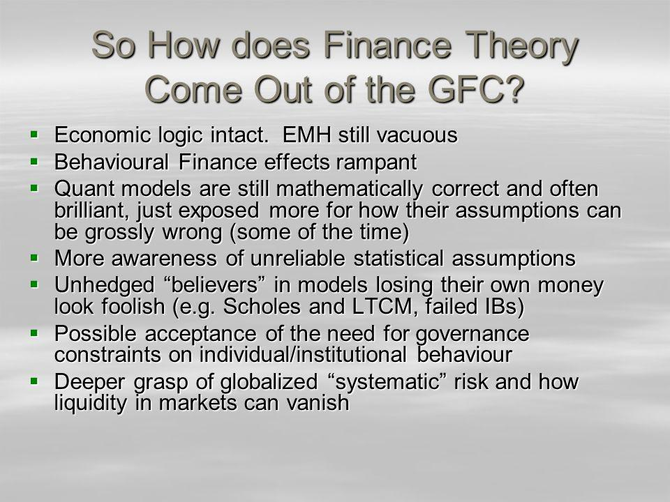 So How does Finance Theory Come Out of the GFC. Economic logic intact.