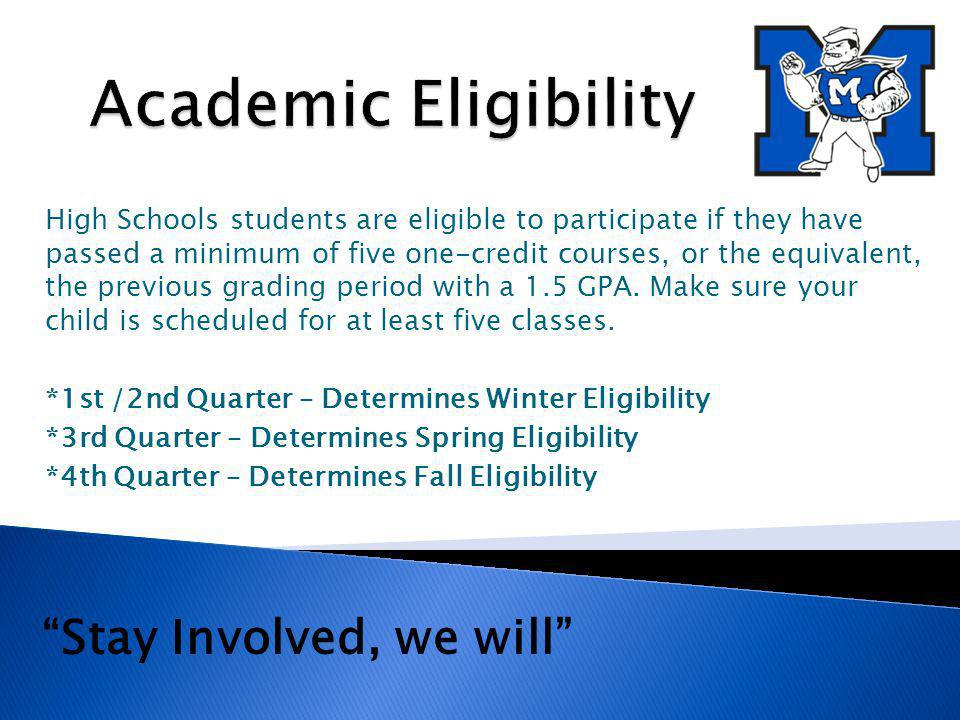 High Schools students are eligible to participate if they have passed a minimum of five one-credit courses, or the equivalent, the previous grading period with a 1.5 GPA.