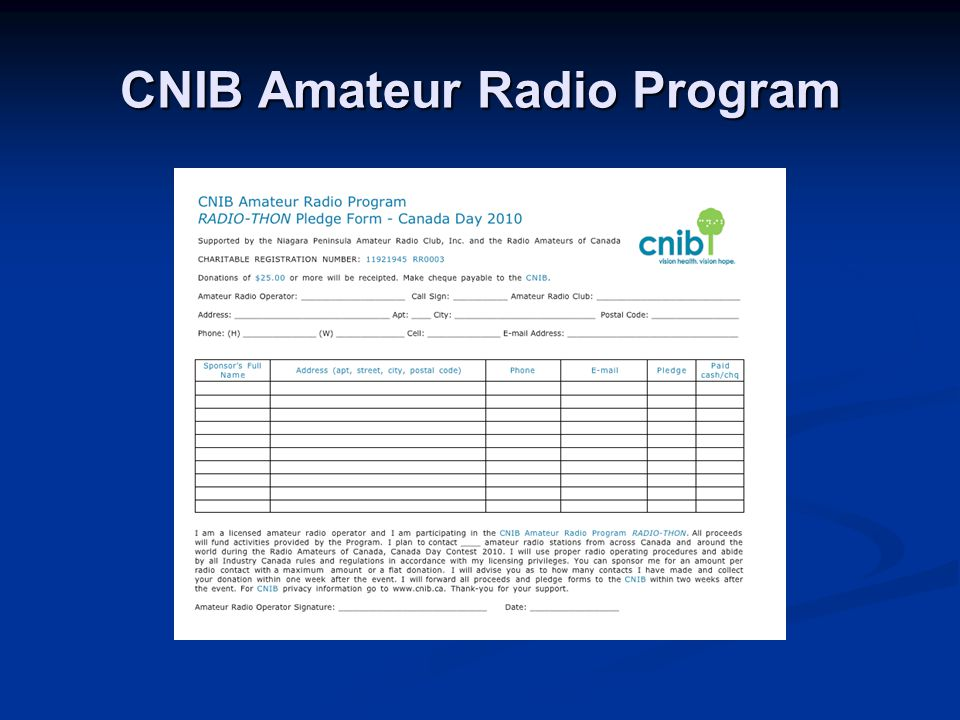 CNIB Amateur Radio Program