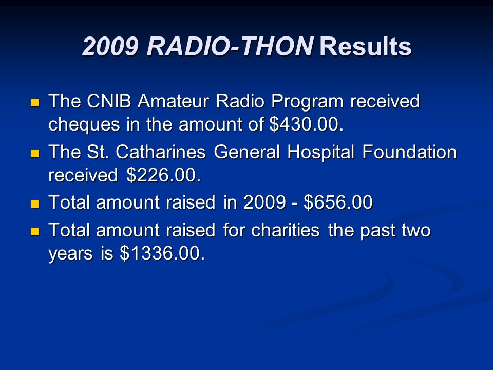 2009 RADIO-THON Results The CNIB Amateur Radio Program received cheques in the amount of $430.00.