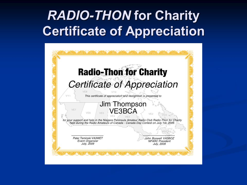RADIO-THON for Charity Certificate of Appreciation