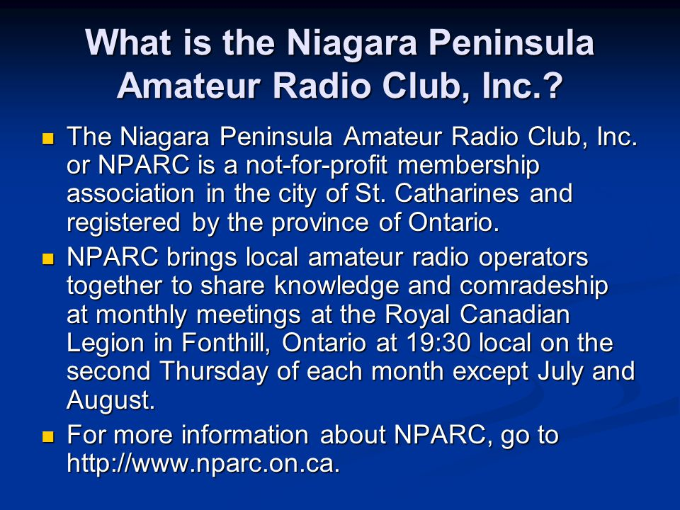 What is the Niagara Peninsula Amateur Radio Club, Inc..