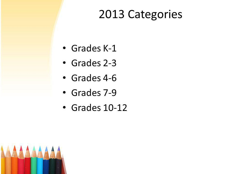 2013 Categories Grades K-1 Grades 2-3 Grades 4-6 Grades 7-9 Grades 10-12