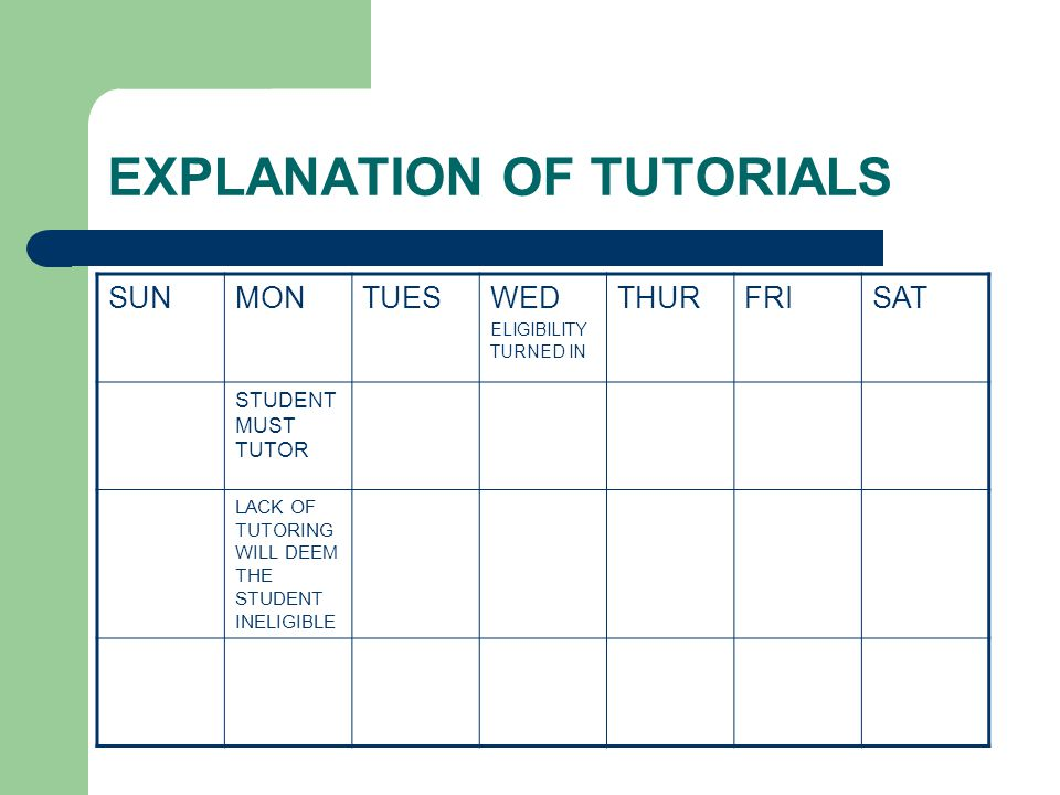 EXPLANATION OF TUTORIALS SUNMONTUESWED ELIGIBILITY TURNED IN THURFRISAT STUDENT MUST TUTOR LACK OF TUTORING WILL DEEM THE STUDENT INELIGIBLE