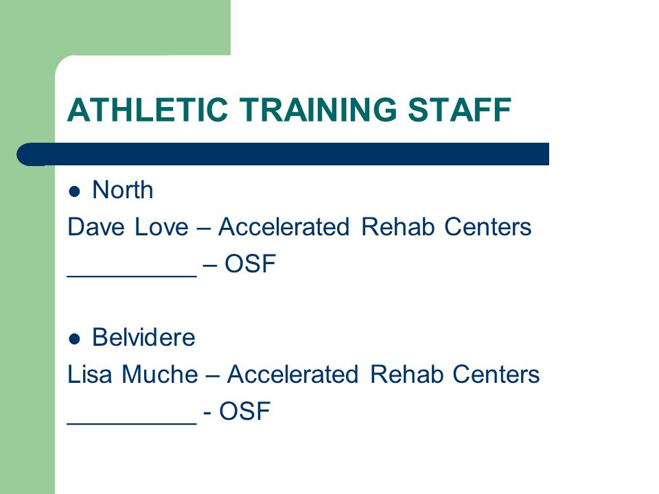 ATHLETIC TRAINING STAFF North Dave Love – Accelerated Rehab Centers _________ – OSF Belvidere Lisa Muche – Accelerated Rehab Centers _________ - OSF