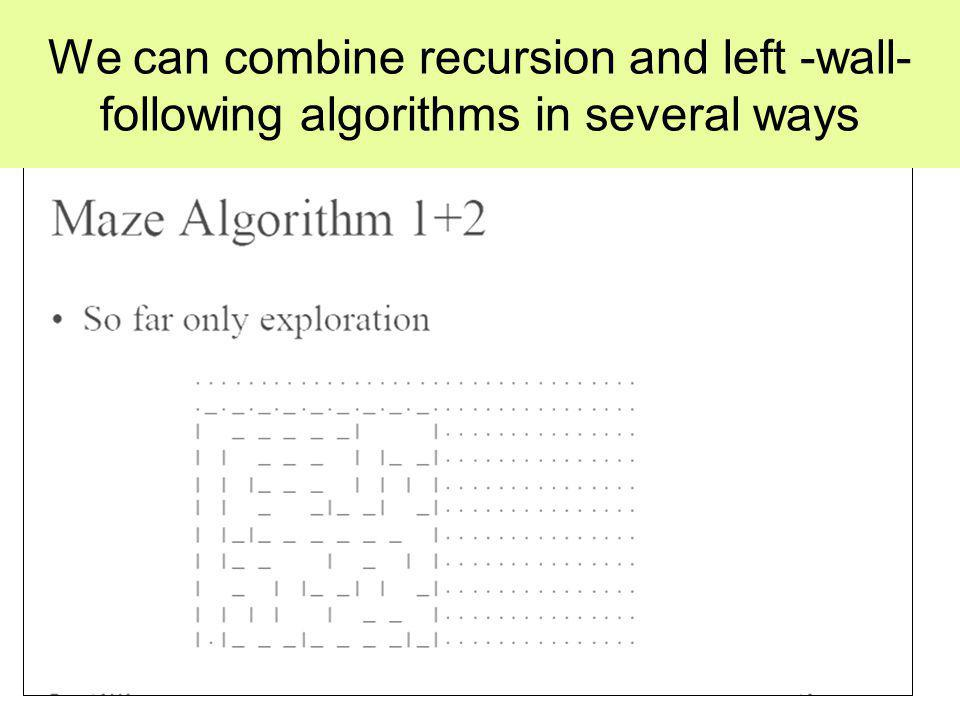 We can combine recursion and left -wall- following algorithms in several ways