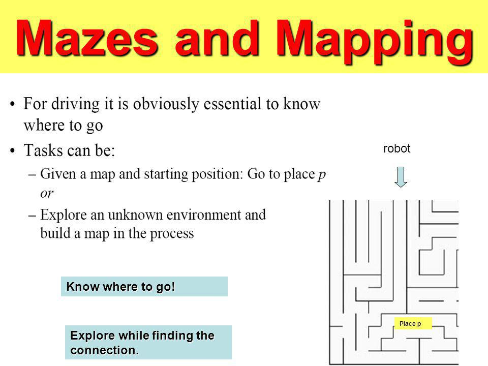 Mazes and Mapping Place p robot Know where to go! Explore while finding the connection.