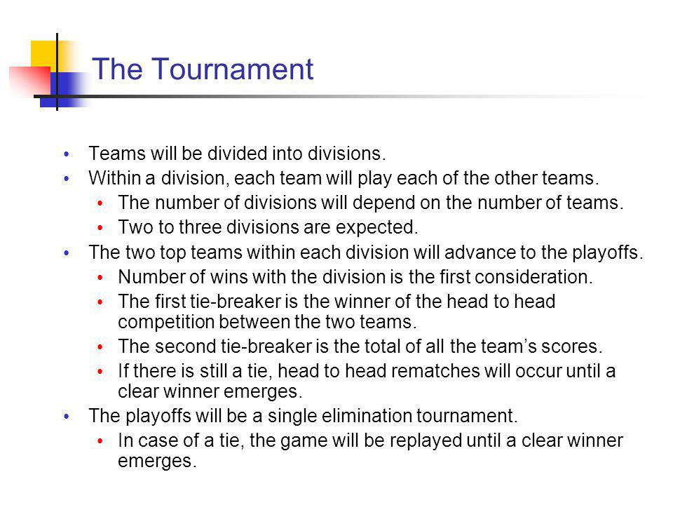 The Tournament Teams will be divided into divisions.