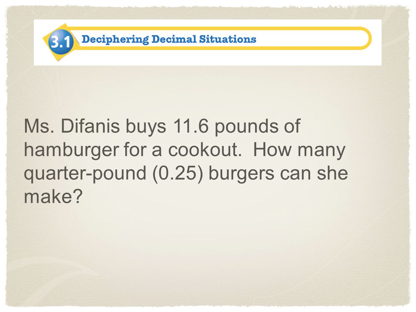 Ms.Difanis buys 11.6 pounds of hamburger for a cookout.