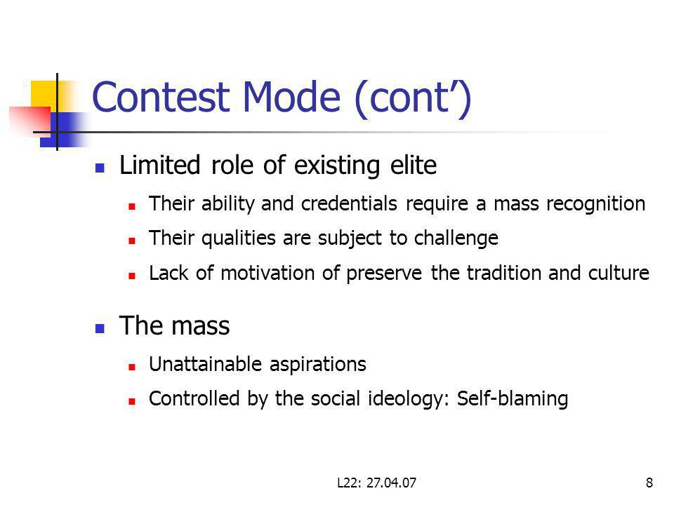 L22: Contest Mode (cont) Limited role of existing elite Their ability and credentials require a mass recognition Their qualities are subject to challenge Lack of motivation of preserve the tradition and culture The mass Unattainable aspirations Controlled by the social ideology: Self-blaming