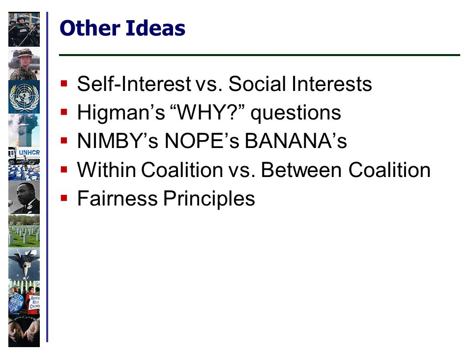Other Ideas Self-Interest vs. Social Interests Higmans WHY.